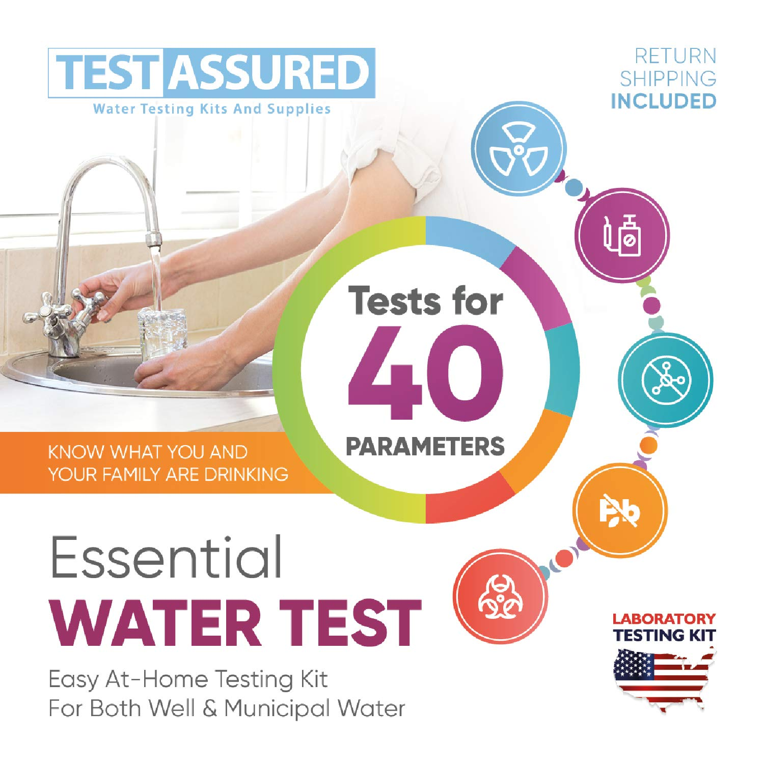 Test Assured Essential Water Test Kit - Easy At-Home Well and Municipal Water Test Kit - Laboratory Testing Kit for 40 Parameters - Identifies the Presence of Various Metals, Detects Pathogens, E.Coli by Test Assured