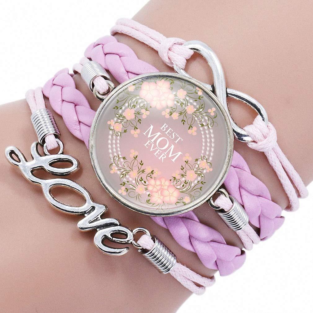 Giwotu Womens Fashion Love Leather Charm Bracelet for New Mom Mothers Best Jewelry Glass Wrap Bracelet