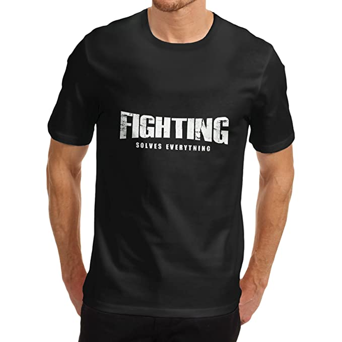 0f5f75f542f7 TWISTED ENVY Men s Fighting Solves Everything Funny T-Shirt  Amazon.co.uk   Clothing