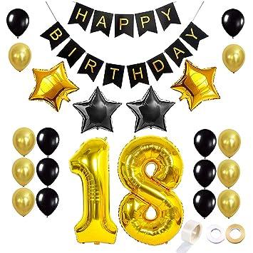 Juland Dorado y Negro 18 Globos de cumpleaños Conjunto Kit ...
