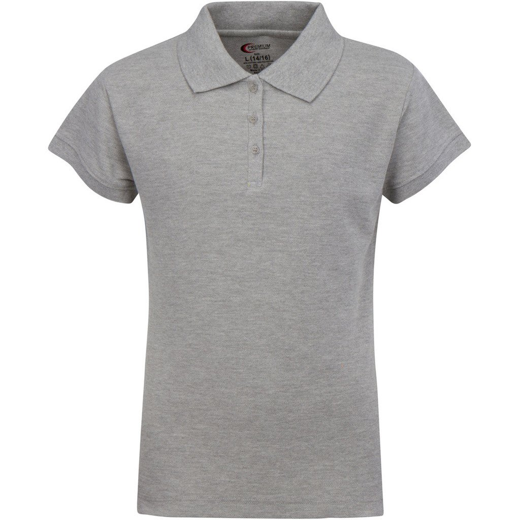 Premium Short Sleeves Girls Polo Shirts Heather Gray M 10/12