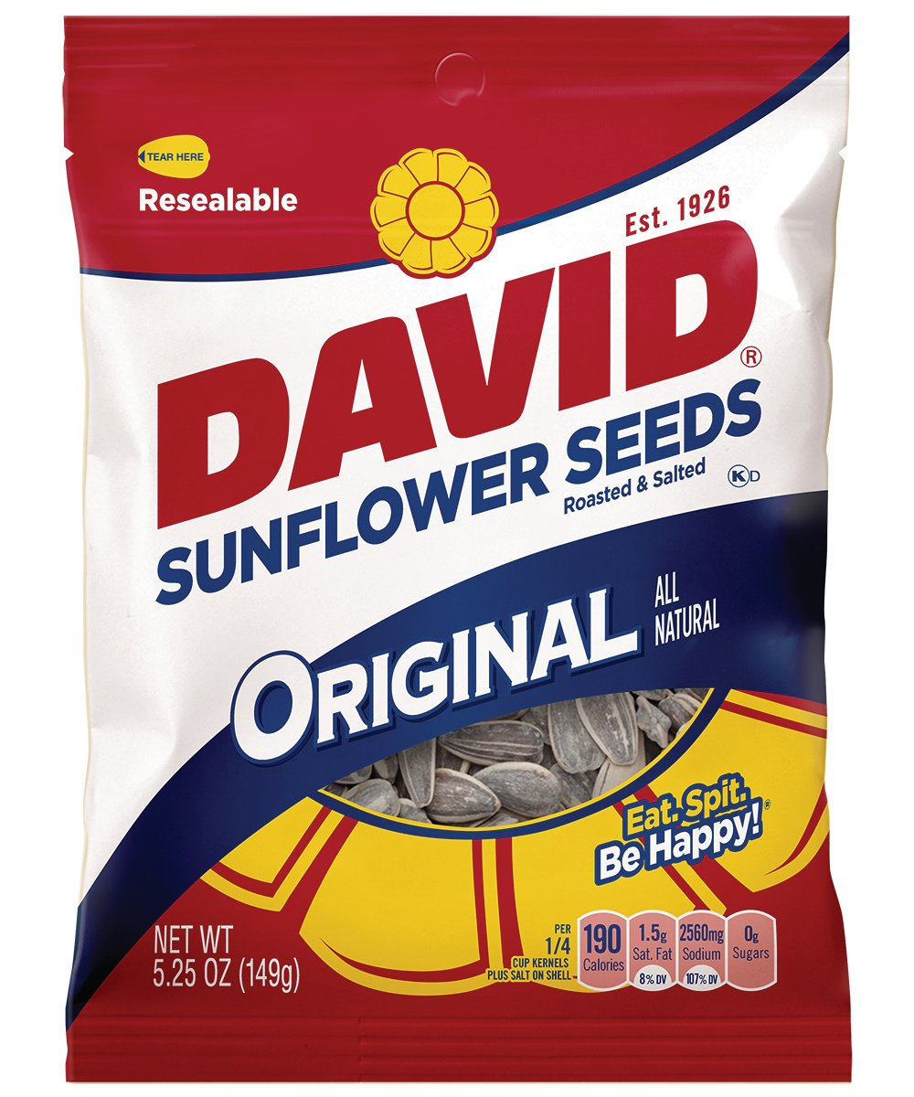 DAVID Roasted and Salted Original Sunflower Seeds, 5.25 oz, 12 Pack