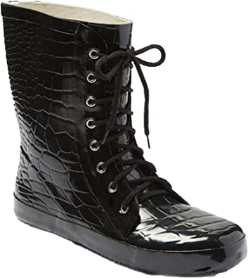 Croc Print Lace Up Rubber Rain Boots