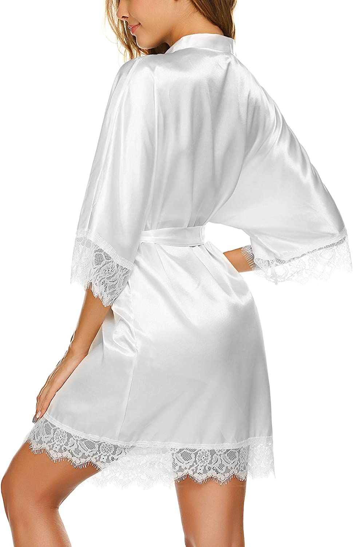 Avidlove Womens Pure Color Kimono Robes Satin Nightwear Bridesmaids Short Style