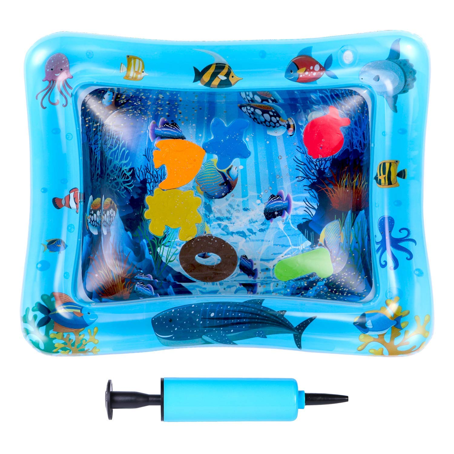 Fun Water Play Mat-Perfect Activity Play Center Promotes Infant Visual Stimulation 26x20 Inflatable Tummy Time Water Mat for Baby