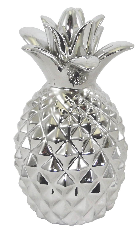 Shiny Silver Coloured Ceramic Pineapple Ornament Amazoncouk Kitchen Home