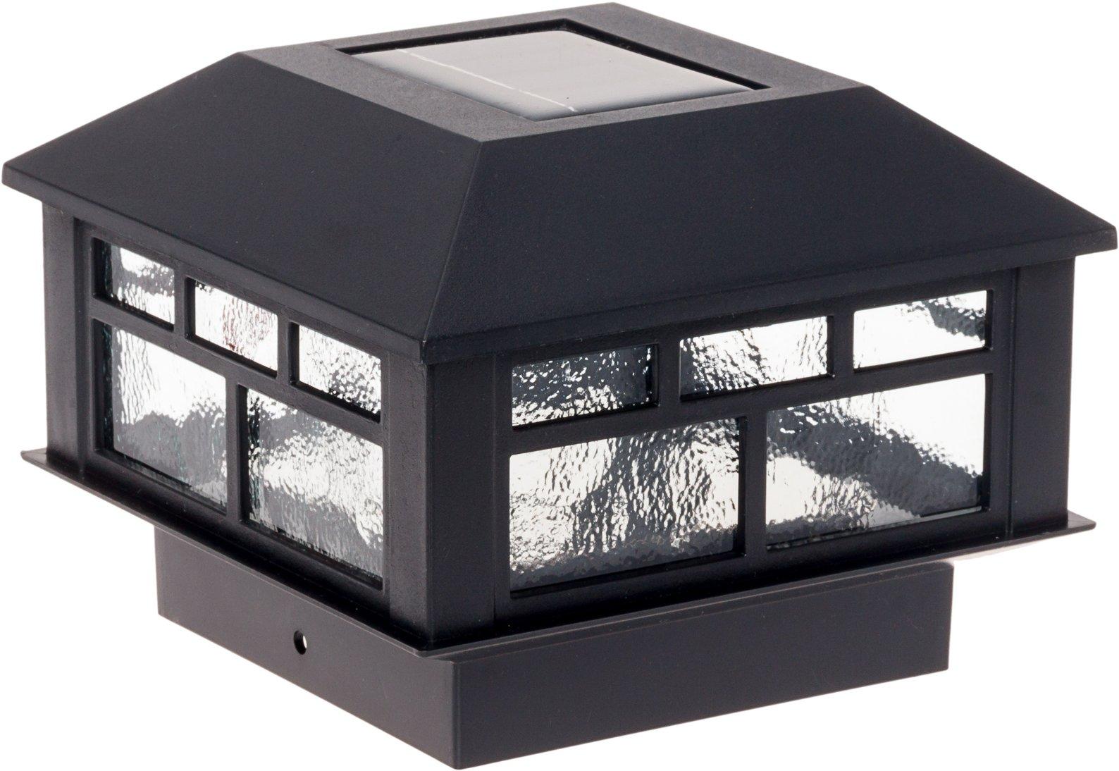 GreenLighting Modern Design Solar Powered Post Cap Light by for 4x4 Wood Posts (Black)