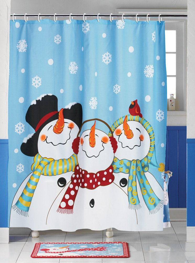 Amazon.com: Collections Etc Frosty & Friends Snowman Shower Curtain ...
