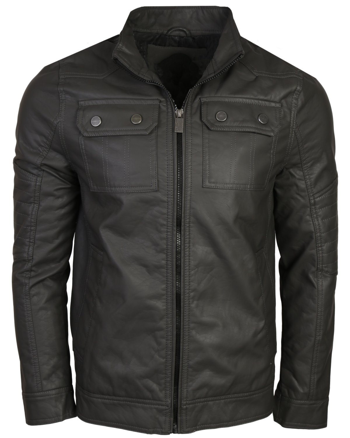 Urban Republic Men's Faux Leather Jacket, Dark Charcoal, Medium'