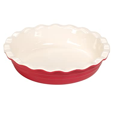 Baker's Advantage Ceramic Deep Pie Dish, 9-1/2-Inch, Red