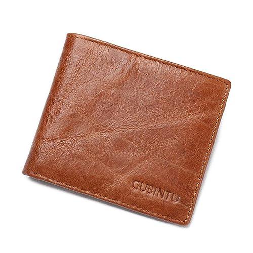 Heaviesk Cartera de tarjeta de crédito bifold monedero para hombre Genuine Leather Rfid Blocking Anti Scan