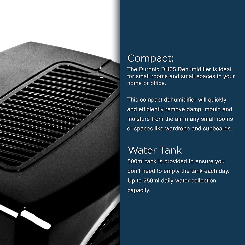Duronic (Renewed) DH05 Mini Dehumidifier Compact Black
