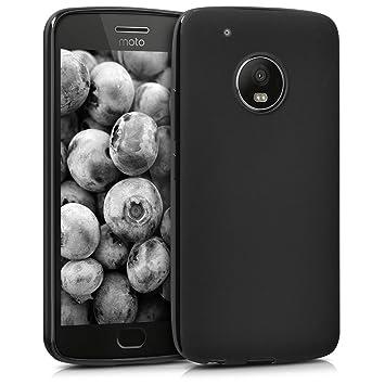 kwmobile Funda para Motorola Moto G5 Plus - Carcasa para móvil en [TPU Silicona] - Protector [Trasero] en [Negro Mate]