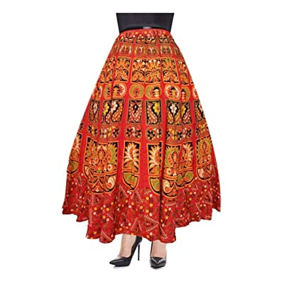 Indian Handicrfats Export Eagle Eye Outfitters Printed Women's Wrap Around Multicolor Skirt