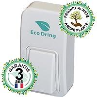 EcoDring Sonnette sans fil sans pile garantie 3 ans étanche IPX7 portée 80 mètres