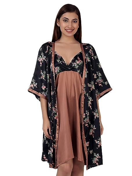 Clovia Women s Satin Short Nighty   Printed Robe (NS0983M13 Black X-Large) c33ffaabe