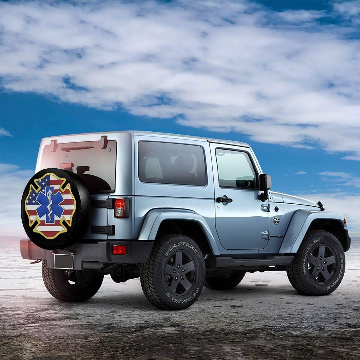 JINGUIluntai EMS EMT Fire Fighter USA Flag Tire Cover Spare Wheel Tire Cover Wheel Covers for Car SUV