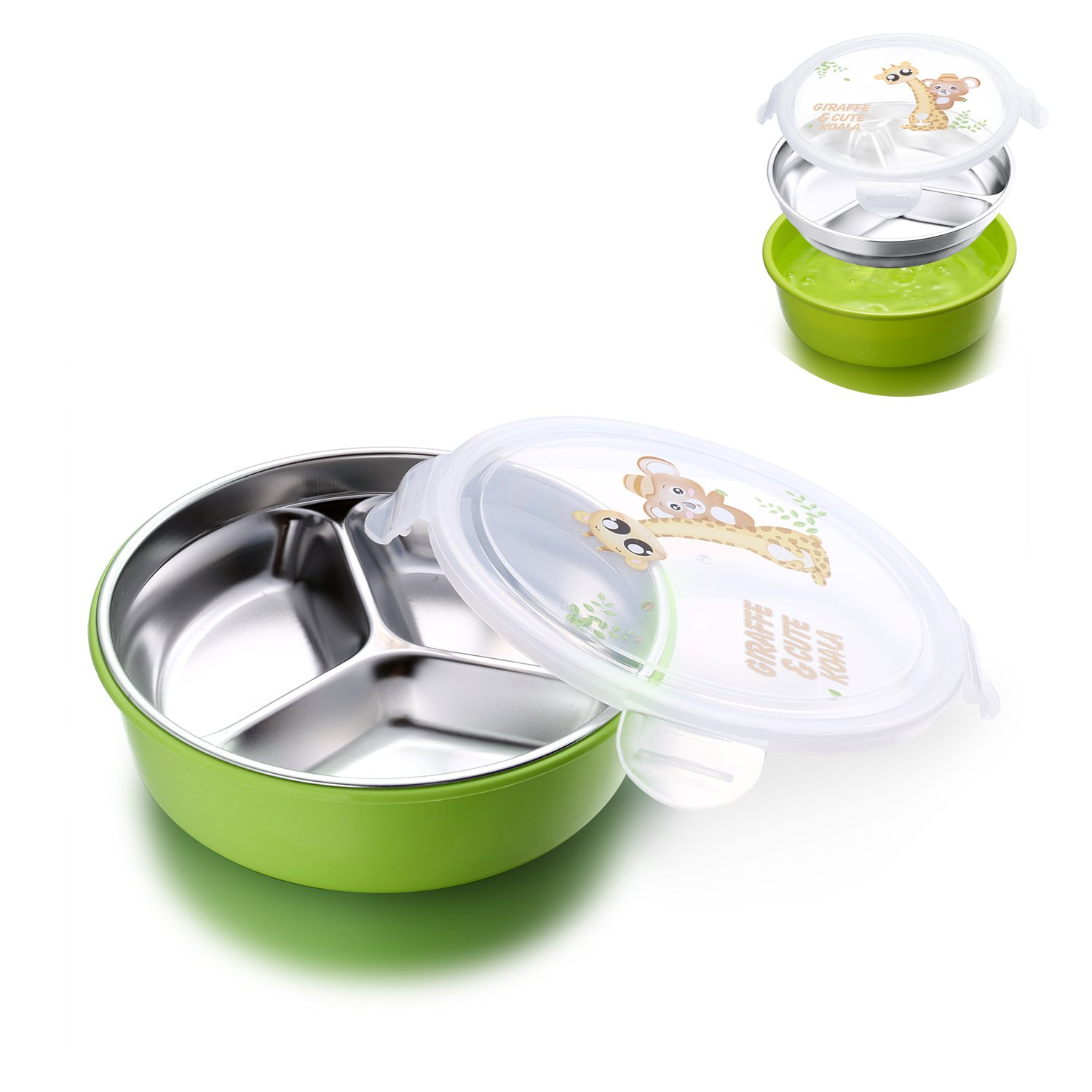 IRmm Top Rated Stainless Steel Lunch Box for kids adults, Salad Bowl,Fruit Bowl,Leak-Proof Food Storage Container (bento-green(small))