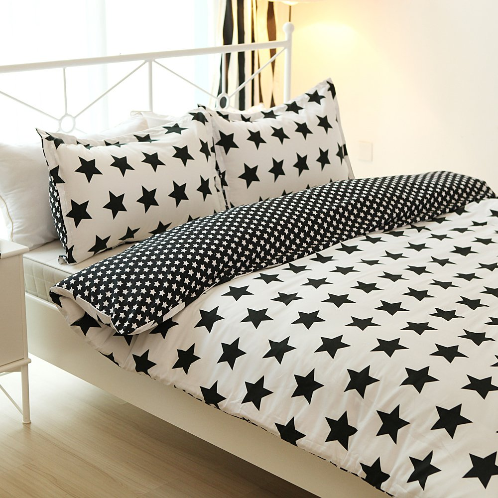 Tiny Star Printed Microfiber Duvet Cover Set