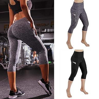 e38ba6f3bad9d Bluefringe Women Scrunch Butt Yoga Pants Leggings High Waist Waistband  Workout Sport Fitness Gym Tights Push