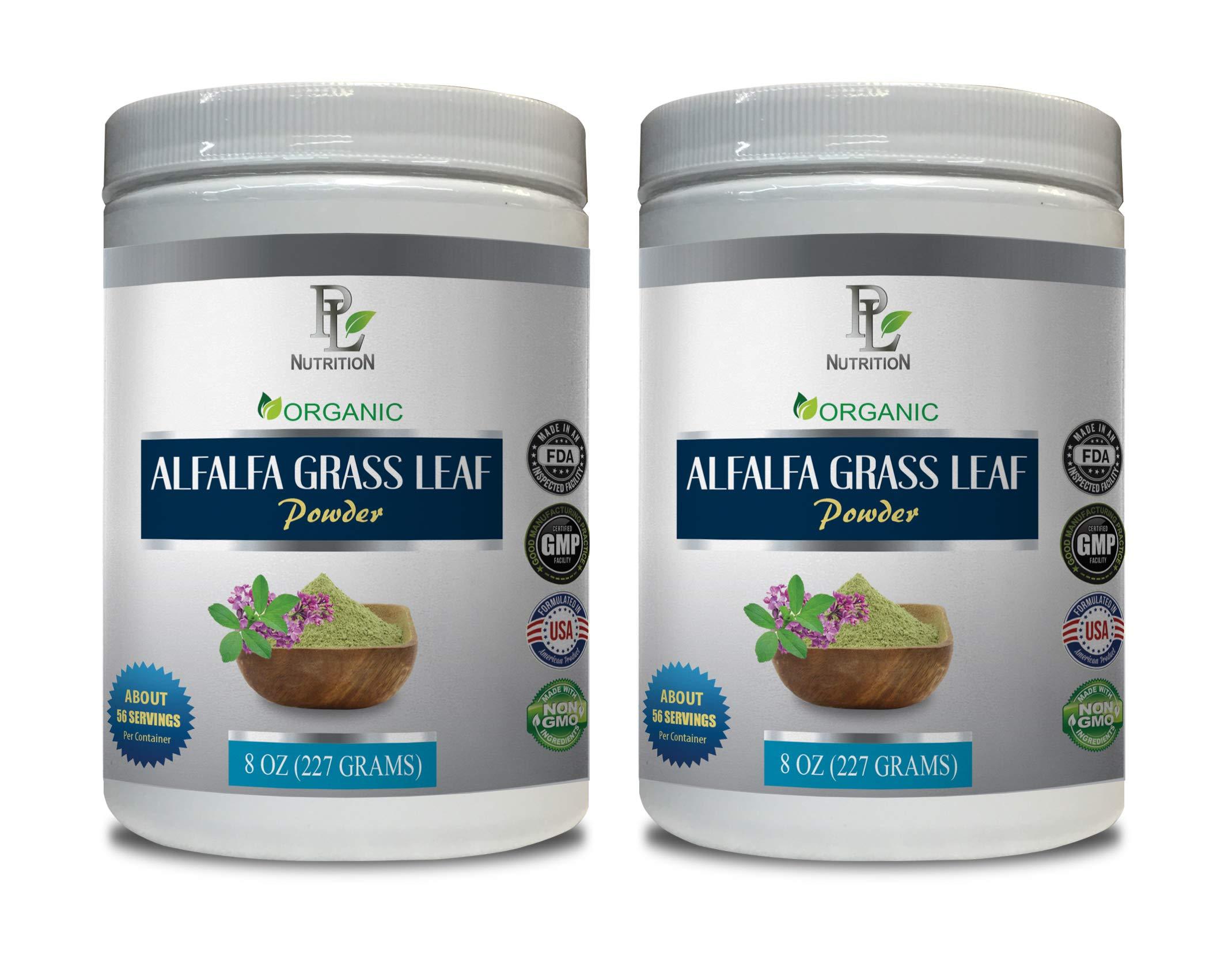 Blood Pressure Vitamin Supplements - Alfalfa Grass Leaf Organic Powder - Alfalfa Leaf Organic - 2 Cans 16 OZ (112 Servings)
