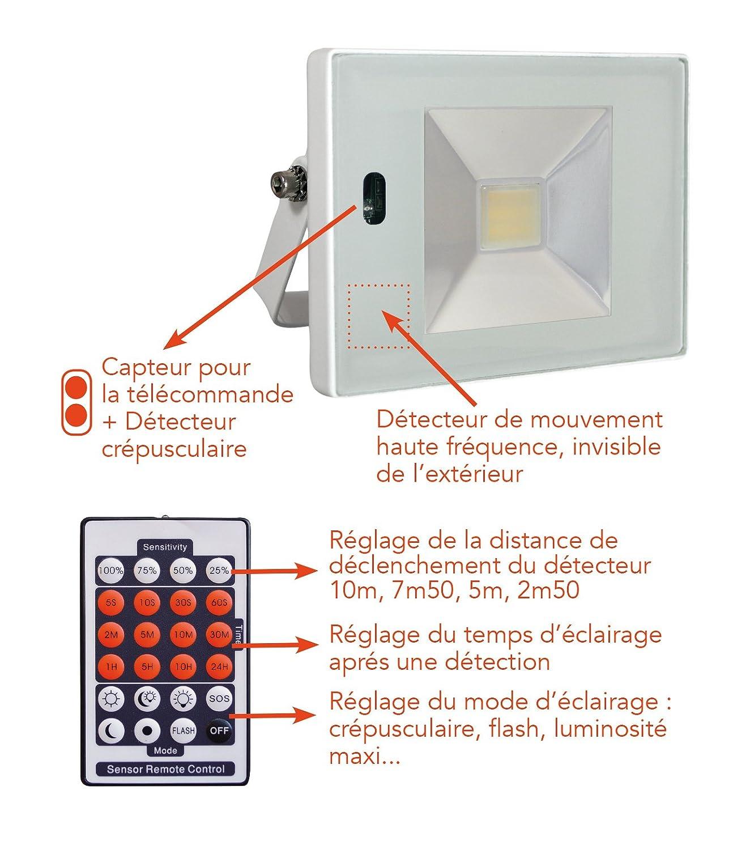 Tibelec 351710 Projecteur Led Avec D Tecteur De Mouvement