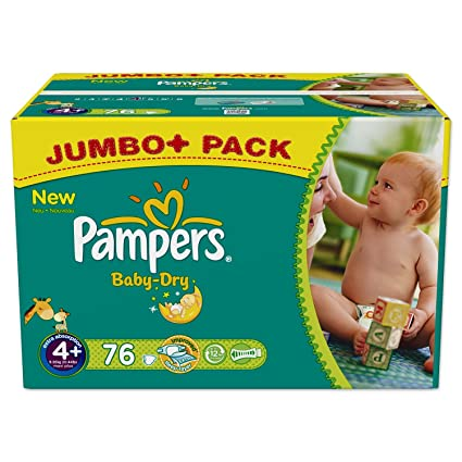PAMPERS Baby Dry Pañales, talla 4 + Maxi Plus 9 – 20 kg Jumbo Plus