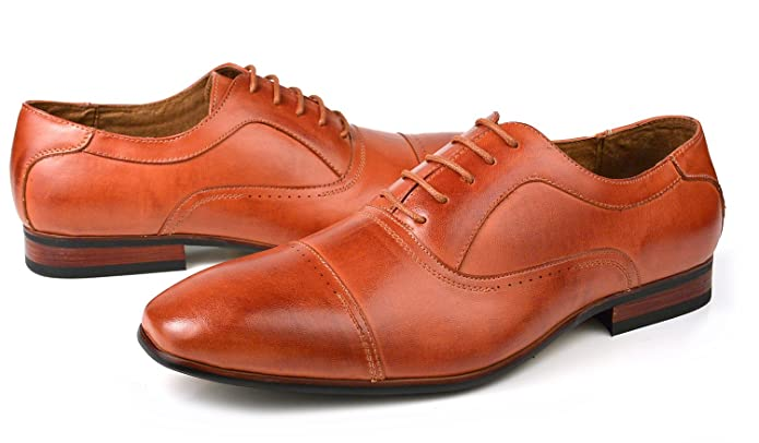 Ferro Aldo Modern Men's Dress Lace-up Oxfords Shoes Cap Toe Brown (7)