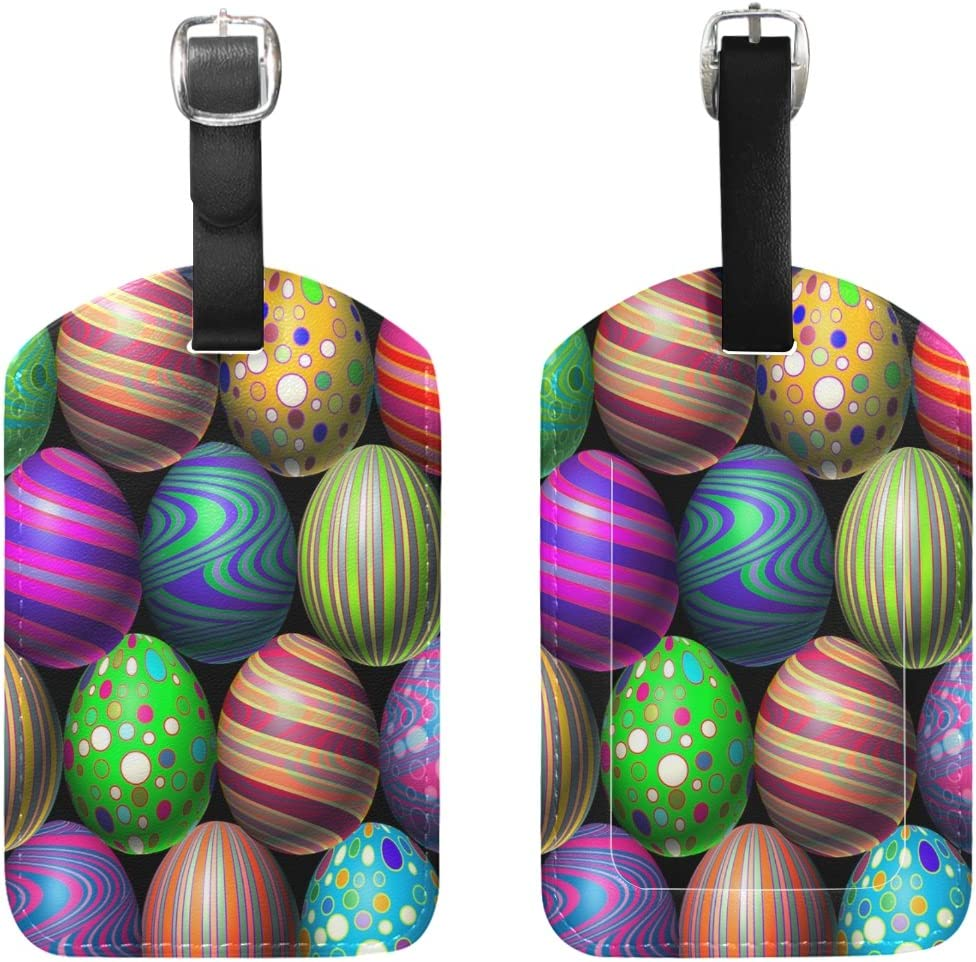 Chen Miranda Easter Egg Luggage Tag PU Leather Travel Suitcase Label ID Tag Baggage claim tag for Trolley case Kids Bag 1 Piece