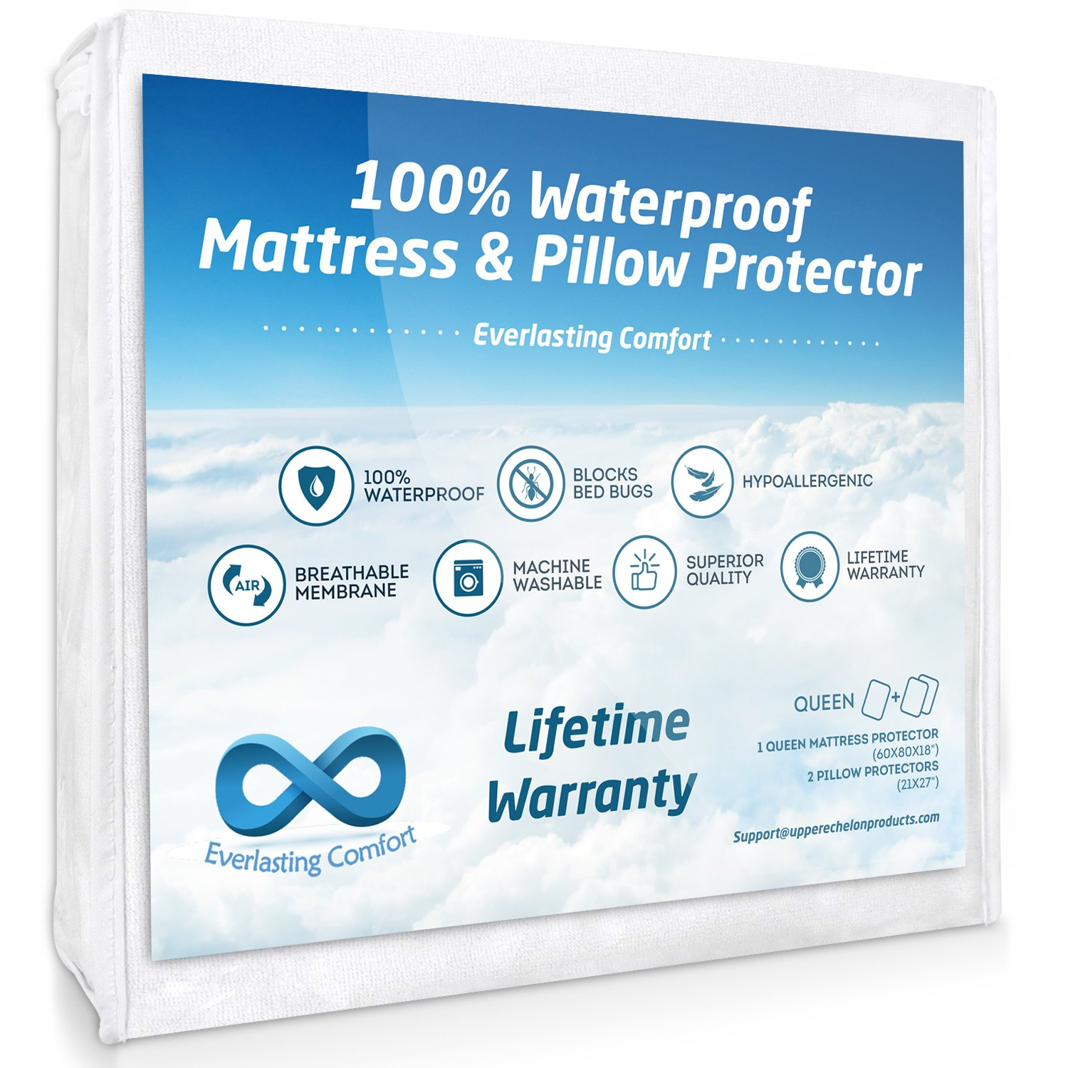 100% Waterproof Mattress Protector (Queen) and 2 Free Pillow Protectors. Complete Set, Hypoallergenic, Breathable Membrane by Everlasting Comfort