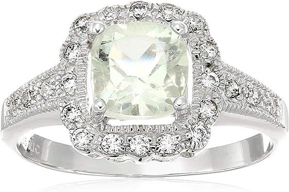 Green Amethyst Prasiolite /& White Zircon Ring Size 8.5 925 Sterling