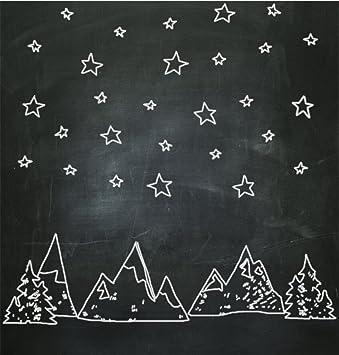 Negro pizarra foto telón de fondo dibujo estrellas y árboles ...
