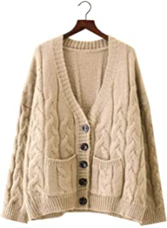 38f3bb7705 Doballa Thick Slouchy Open Front Button Down Oversized Cable Twist Knit  Chunky Cardigan Sweaters with
