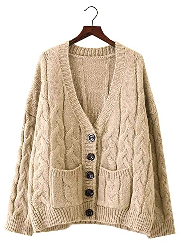 33326da1b3 Doballa Women s Slouchy Grandad Cable Knit Button Down Chunky Cardigan  Sweater with Pockets (One Size