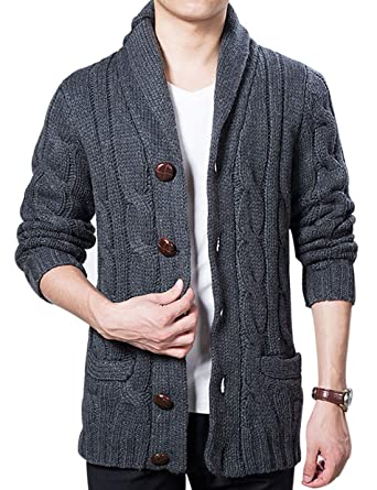 508957942fd058 Lentta Mens Heavy Weight Shawl Collar Button Down Cable Knitted Cardigan  Sweater (X-Small