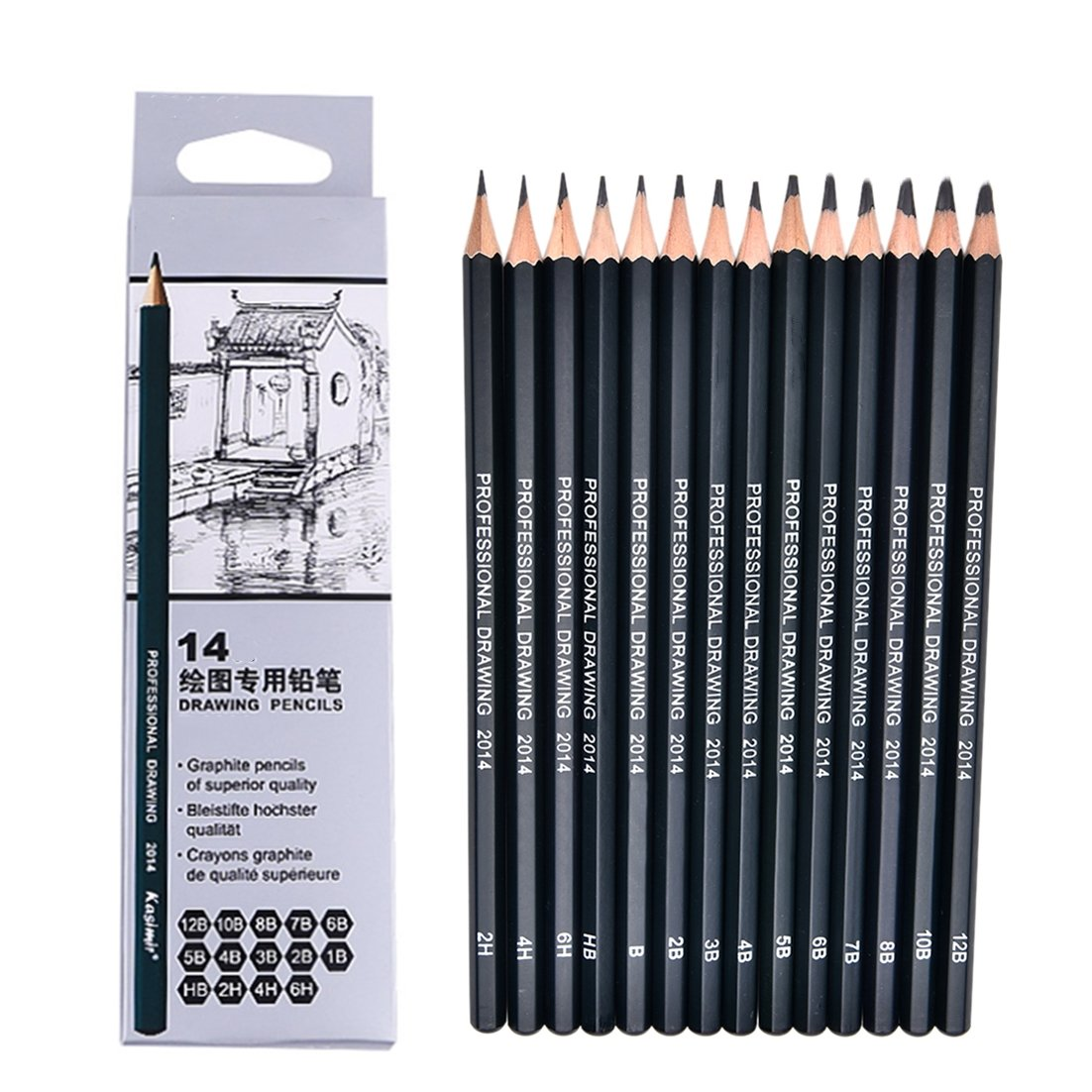 Eshylala 1 set 14 pcs wooden professional drawing pencil student sketch pencil stationery supplies for drawingcarpentercrafting art sketchin 6h4h2hhb