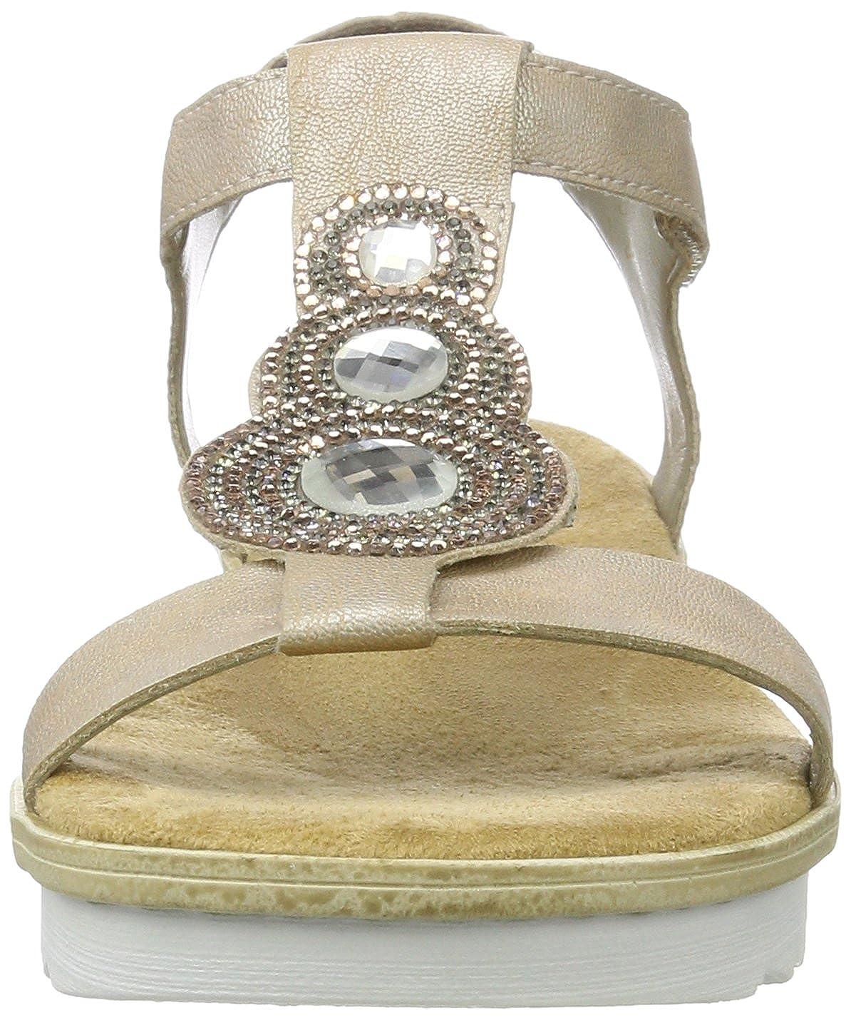 Rieker Damen 63184 Offene Sandalen mit Keilabsatz, Beige