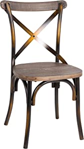 Acme Furniture 73077 1 Piece Zaire Side Chair, Walnut & Antique Copper