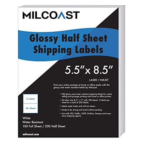 picture relating to Printable Fedex Shipping Label called Milcoast 200 50 percent Sheet Delivery Labels Shiny H2o Resistant for Laser or InkJet Printer 5-1/2\