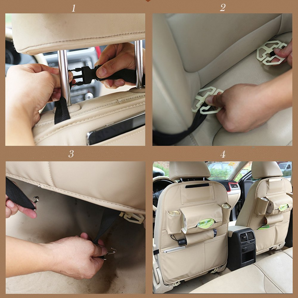 Back Seat Protector and Kick Mats Umbrella Tissue Boxes Brown 2 pack Car Seat Organizer Timorn Waterproof Leather Car Back Seat Organizer with Tablet Holder Multi-Pocket for Bottles Magazines and Kids Toy Storage