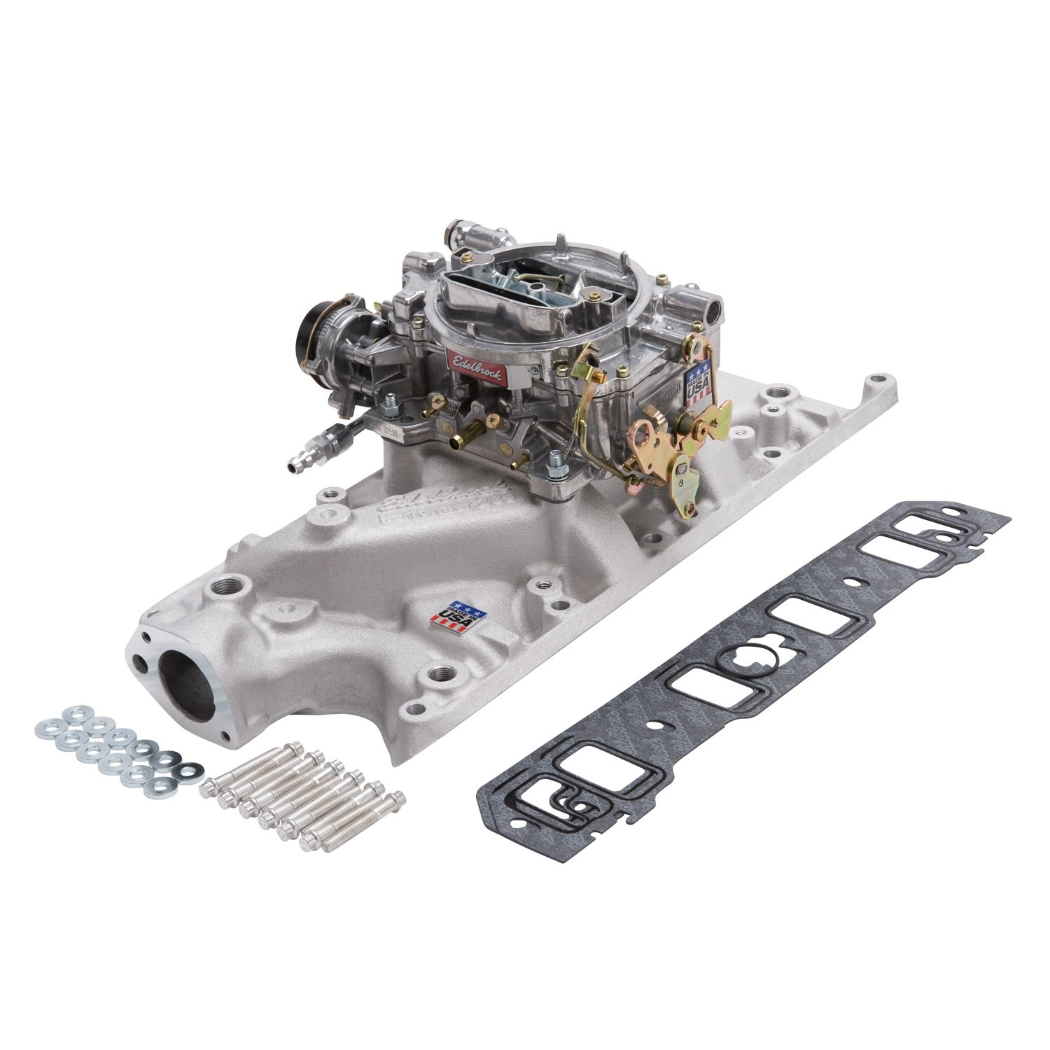 Edelbrock 2031 Single-Quad Manifold And Carb Kit For Performer Manifold w/600cfm Performer Series Carb Incl. Carb/Fuel Line/Intake Bolts/Gaskets Satin Finish Single-Quad Manifold And Carb Kit