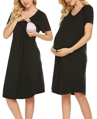 fe2ef847c187e Ekouaer Women's Maternity Sleepwear Dress Nursing Nightgown for Breastfeeding  Short Sleeve Nursing Nightshirt Sleepshirts S-