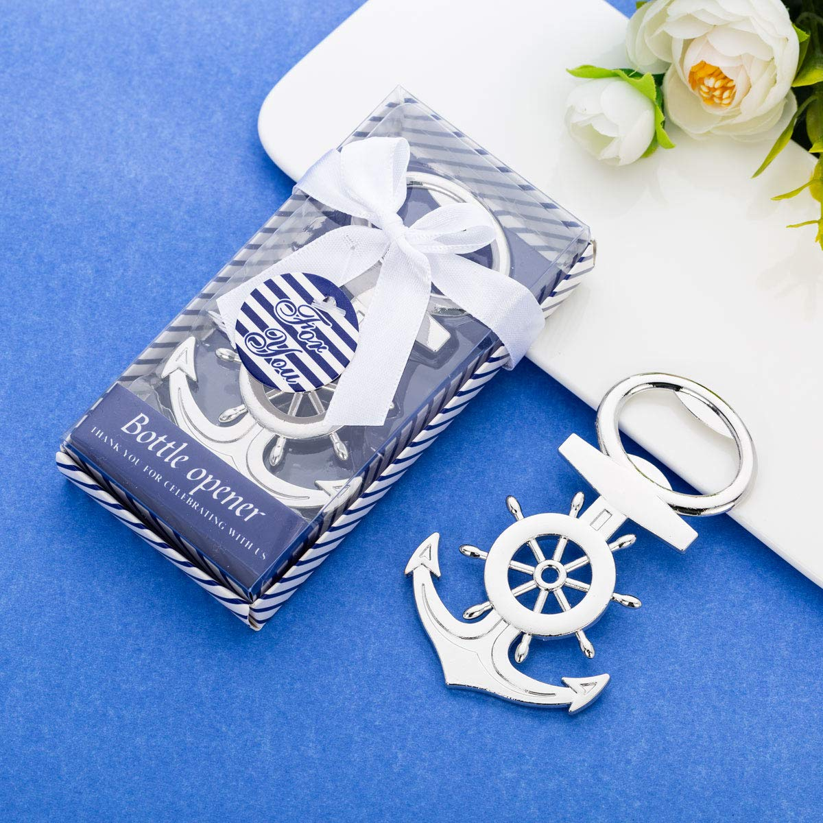 36 Pcs Nautical Themed Anchor & Wheel Beer Bottle Opener Party Favors for Guests Boxed Souvenir Gift Favor for Nautical Beach Wedding Baby Bridal Shower Birthday Party