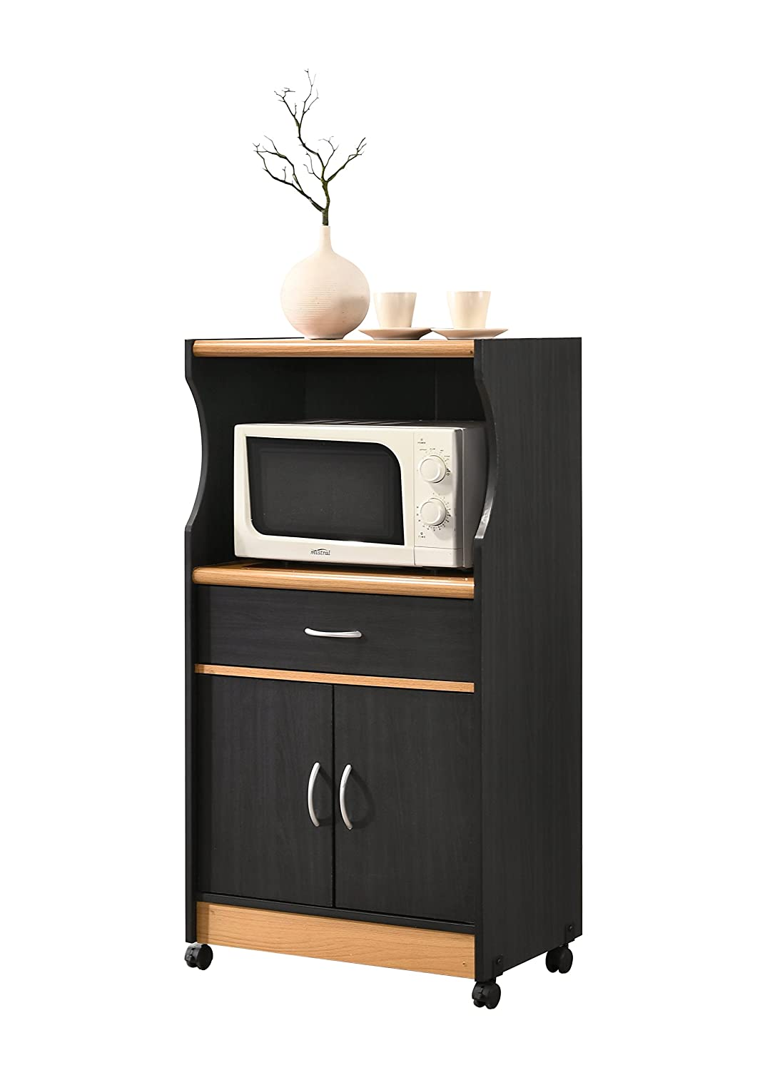 Hodedah HIK77 Black-Beech Microwave Kitchen Cart Hodedah Import