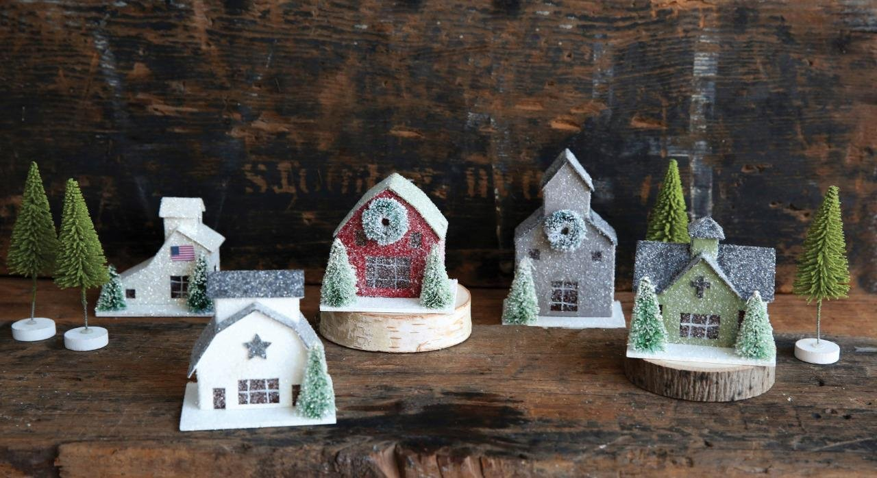 (9) Pc Christmas Mantel Village Set, Houses and Trees, 2.5'' Tall