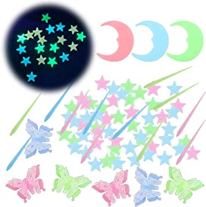 221Pcs Glow in The Dark Stars for Ceiling,Colorful Glowing Stars for Ceiling with Moon,Meteors and Butterflies,Kawaii Room Decor,3D Glow Stars(Pink,Green,Blue)