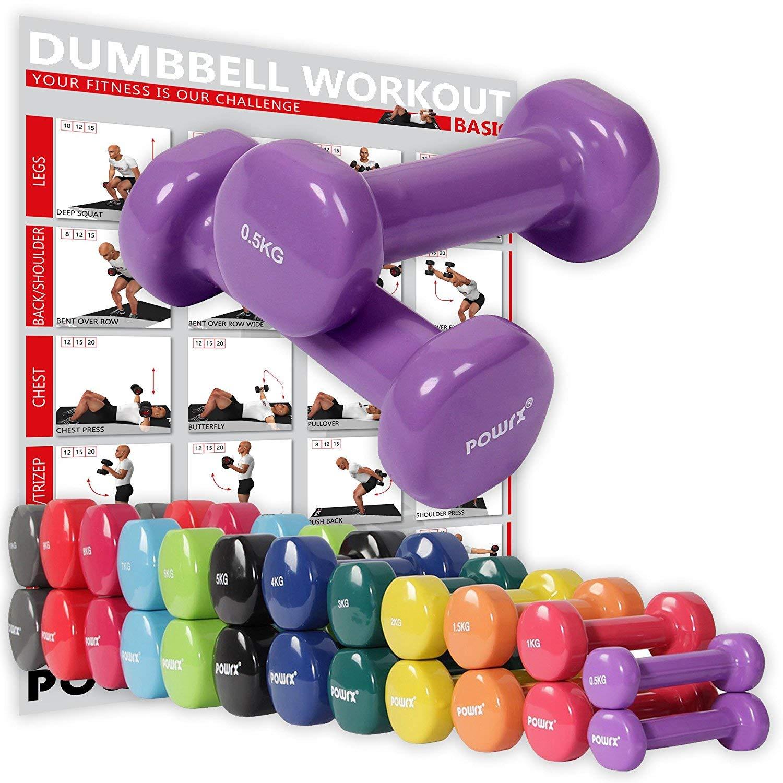 POWRX Vinyl Hanteln inkl. Workout Gymnastikhanteln Ideal für Aerobic Pilates 0,5 kg – 10 kg
