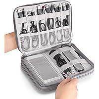 ODLICNO Organizador Portátil Bolsa para Accesorios Electrónicos de Viaje Impermeable Funda Portable para Discos Duros Cables USB Auriculares Móviles Cargadores Accesorios Digitales (Gris)