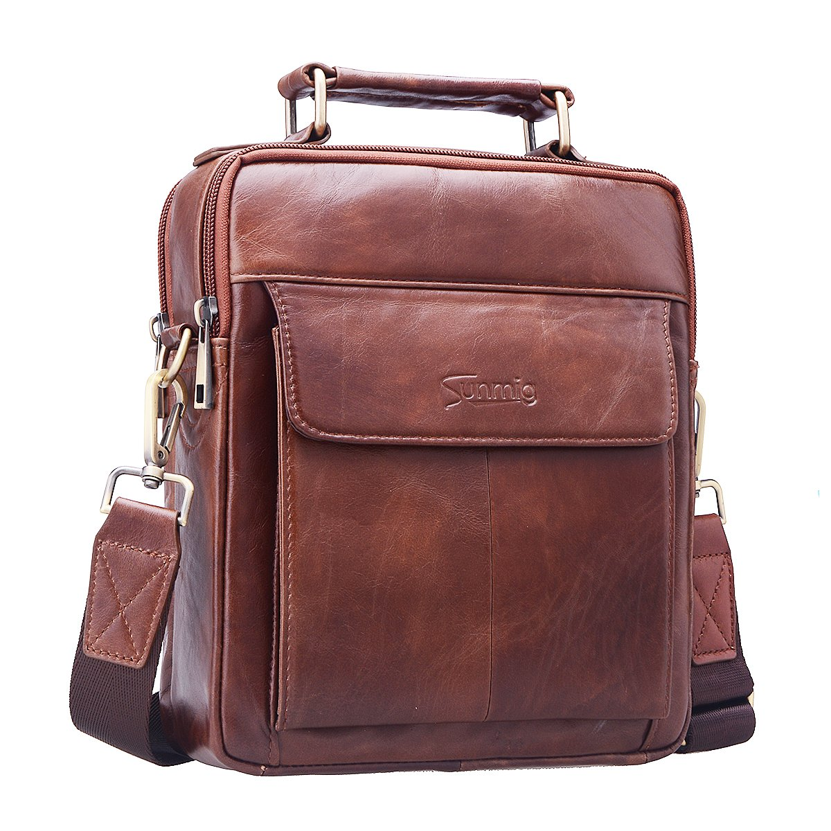 Sunmig Men's Genuine Leather Shoulder Bag Messenger Briefcase CrossBody Handbag (Brown) by Sunmig (Image #4)