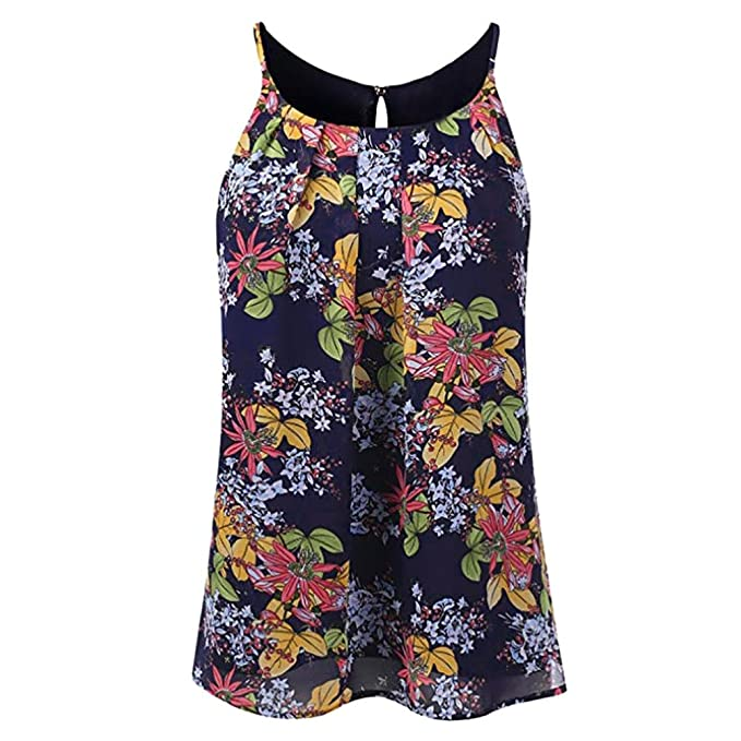 Mujeres Tops Rovinci Verano Floral Vest Top sin Mangas Casual Tank Blusa Tops Camiseta Tops Sexy